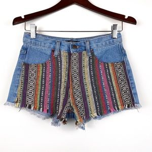 FOREVER 21 Tribal Patterned High Rise Jean Shorts